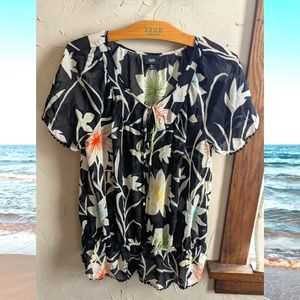 Beautiful sheer multicolor floral blouse